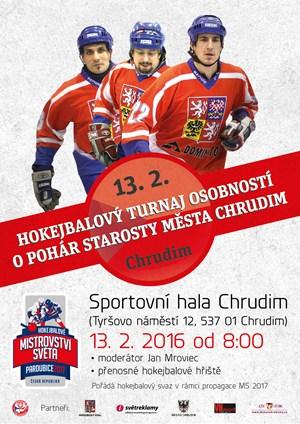 Pozvánka na hokejbalový turnaj osobností o pohár starosty města Chrudim